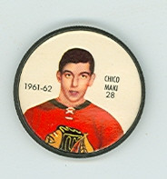 1961-62 Shiriff Hockey Coins 28 Chico Maki Chicago Black Hawks Excellent to Mint