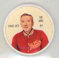 1961-62 Shiriff Hockey Coins 61 Sid Abel Detroit Red Wings Near-Mint