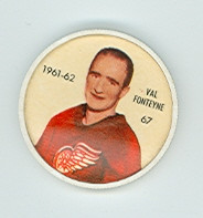 1961-62 Shiriff Hockey Coins 67 Val Fonteyne Detroit Red Wings Excellent to Mint