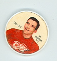 1961-62 Shiriff Hockey Coins 72 Al Johnson Detroit Red Wings Excellent to Mint
