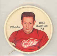 1961-62 Shiriff Hockey Coins 73 Bruce MacGregor Detroit Red Wings Near-Mint