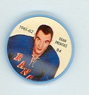 1961-62 Shiriff Hockey Coins 84 Dean Prentice New York Rangers Excellent to Mint