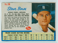 1962 Post Baseball 16 Steve Boros Detroit Tigers Very Good to Excellent