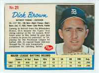 1962 Post Baseball 21 Dick Brown Detroit Tigers Excellent to Mint