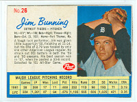 1962 Post Baseball 26 Jim Bunning Detroit Tigers Excellent to Mint