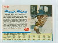 1962 Post Baseball 51 Minnie Minoso Chicago White Sox Very Good to Excellent