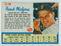 1962 Post Baseball 58 Frank Malzone Boston Red Sox Very Good to Excellent