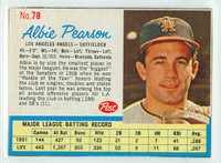 1962 Post Baseball 78 Albie Pearson Los Angeles Angels Very Good to Excellent