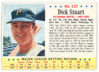 1963 Post Baseball 137 Dick Stuart Pittsburgh Pirates Excellent