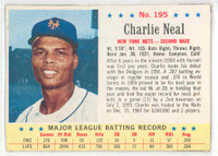 1963 Post Baseball 195 Charlie Neal Single Print New York Mets Excellent