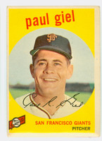 1959 Topps Baseball 9 Paul Giel San Francisco Giants Very Good to Excellent
