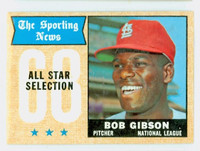 1968 Topps Baseball 378 Bob Gibson All-Star St. Louis Cardinals Excellent to Excellent Plus