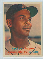 1957 Topps Baseball 6 Hector Lopez Kansas City Athletics Excellent to Mint