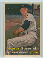 1957 Topps Baseball 11 George Zuverink Baltimore Orioles Very Good to Excellent