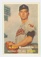 1957 Topps Baseball 13 Wally Burnette Kansas City Athletics Very Good
