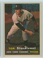 1957 Topps Baseball 34 Tom Sturdivant New York Yankees Very Good to Excellent