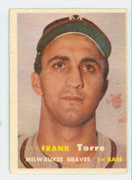 1957 Topps Baseball 37 Frank Torre Milwaukee Braves Very Good
