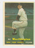 1957 Topps Baseball 39 Al Worthington New York Giants Very Good
