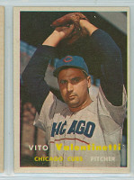 1957 Topps Baseball 74 Vito Valentinetti  [SKU:Y57_T57BB_074a_6exmS]  Chicago Cubs Excellent to Mint