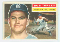 1956 Topps Baseball 40 Bob Turley New York Yankees Excellent to Mint White Back