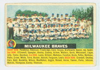 1956 Topps Baseball 95 b Braves Team CENTER  Good to Very Good Grey Back