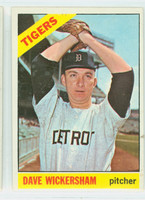 1966 Topps Baseball 58 Dave Wickersham Detroit Tigers Excellent to Excellent Plus