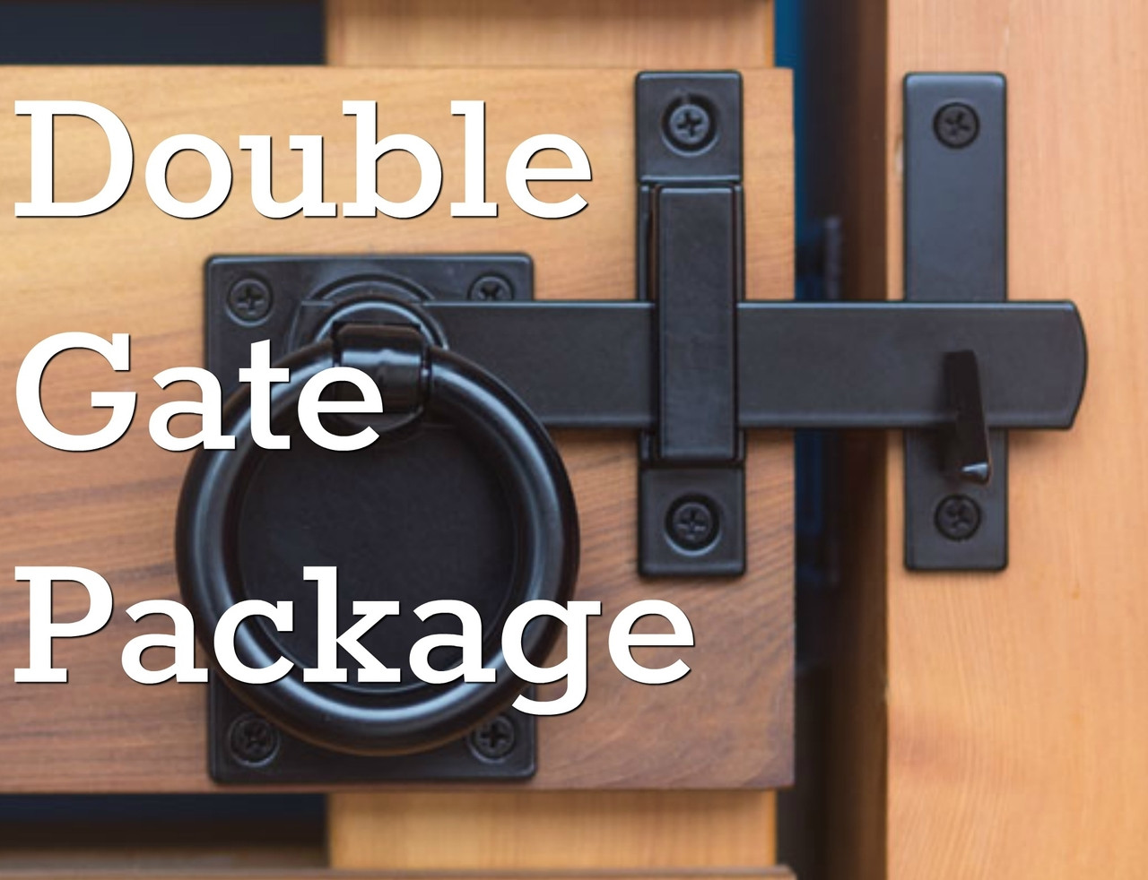 Contemporary Ring Black Gate Latch Package For Double Gates