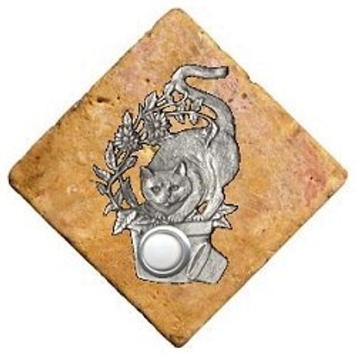 Cat Doorbell Button in Pewter on stone