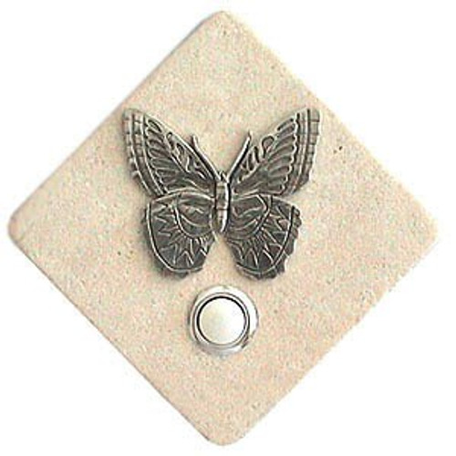 Butterfly Doorbell Button in Pewter on stone