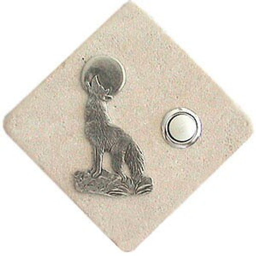 Coyote Doorbell Button in Pewter on stone