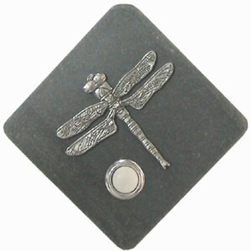 Dragonfly Doorbell Button in Pewter on stone