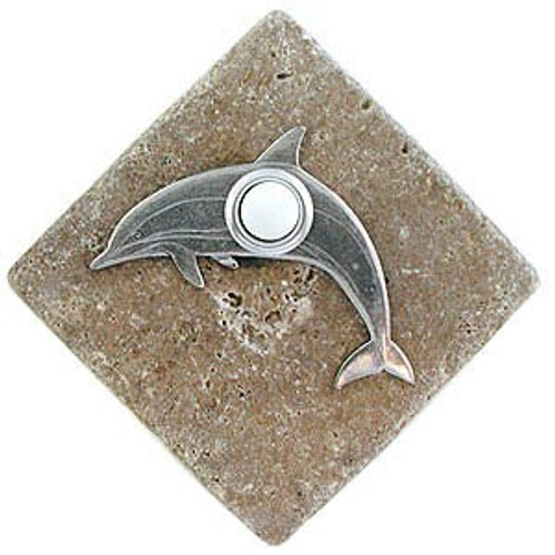 Dolphin Doorbell Button in Pewter on stone