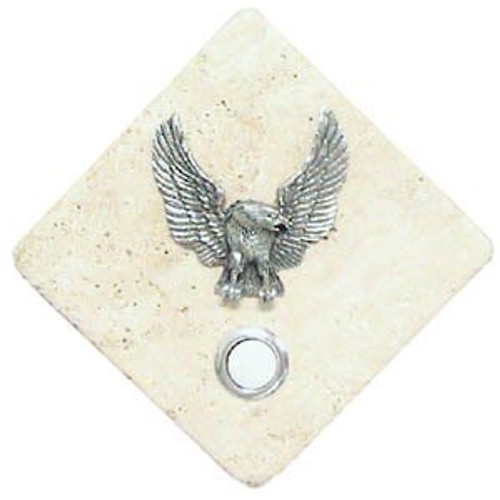 Eagle Doorbell Button in Pewter on stone