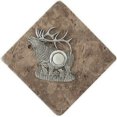 Elk Doorbell Button in Pewter on stone