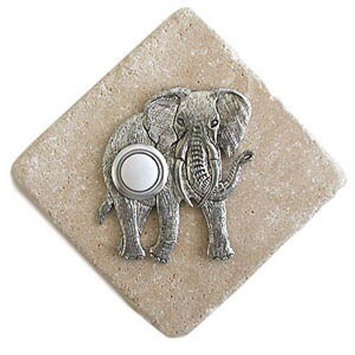 Elephant Doorbell Button in Pewter on stone