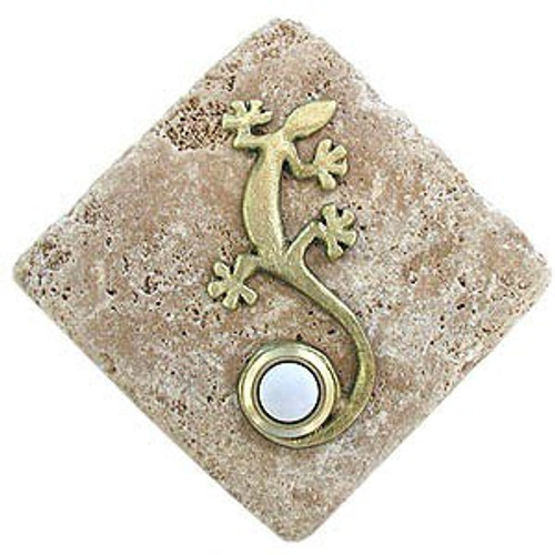 Gecko Doorbell Button in Multiple Finish on stone