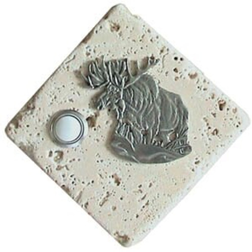 Moose Doorbell Button in Pewter on stone