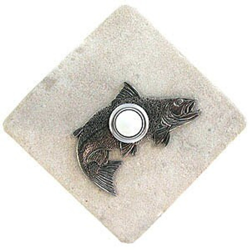 Salmon Doorbell Button in Pewter on stone