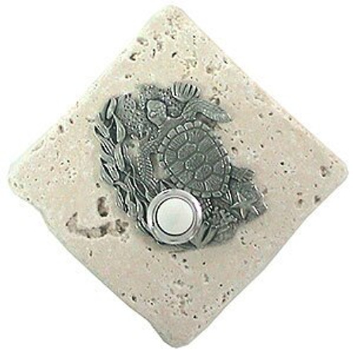 Turtle Doorbell Button in Pewter on stone
