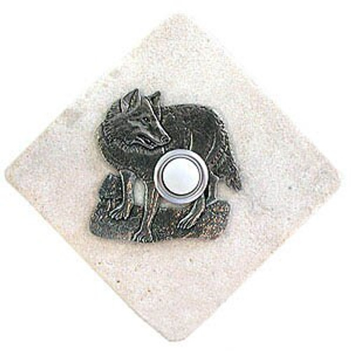 Wolf Doorbell Button in Pewter on stone