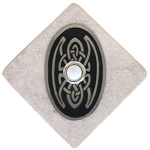 Celtic Knot Oval Doorbell Button in Pewter on stone