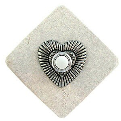 Heart Doorbell Button in Pewter on stone