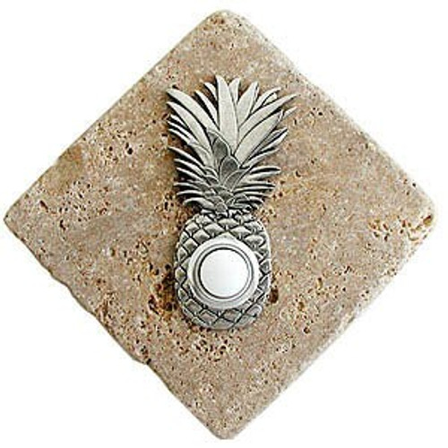 Pineapple Doorbell Button in Pewter on stone