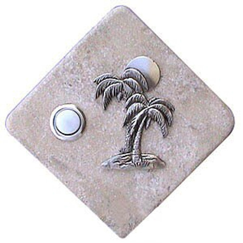 Palm Tree Doorbell Button in Pewter on stone