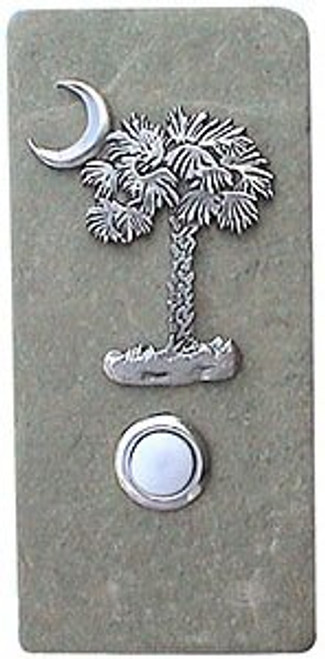 Palmetto Doorbell Button in Pewter on Narrow Stone
