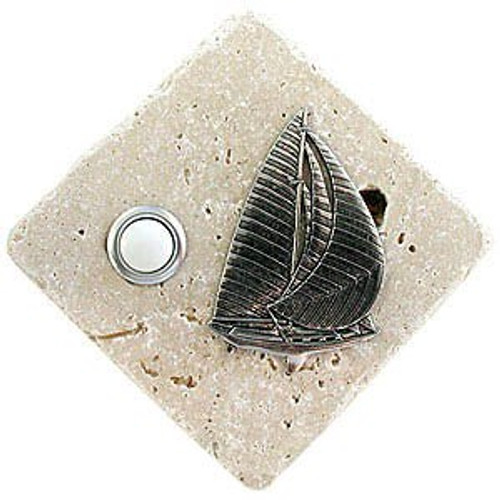 Sailboat Doorbell Button in Pewter Mounted on Stone