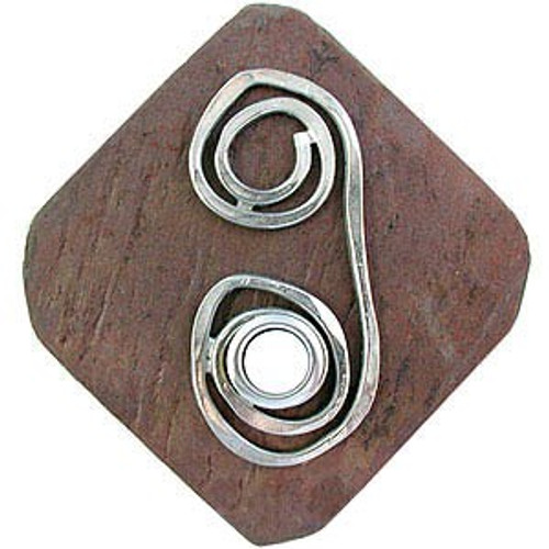 Swirl Doorbell Button in Pewter on stone