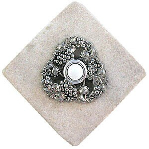Grapes & Grapevine Doorbell Button in Pewter on stone