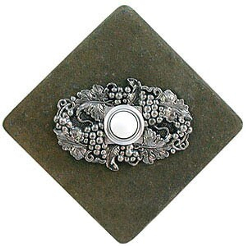 Wine Grapes Doorbell Button in Pewter on stone