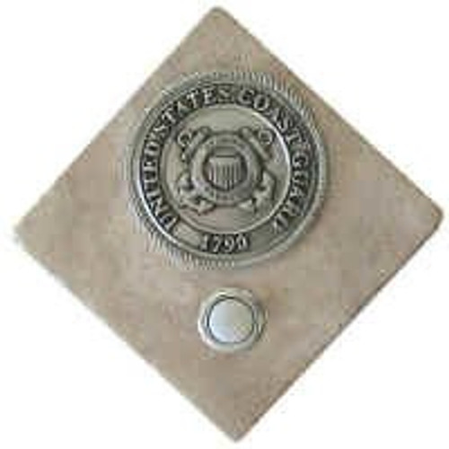 US Coast Guard Doorbell Button in Pewter on stone